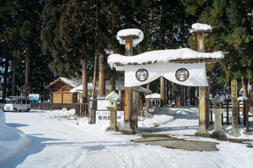 Useugi Kenshin Samurai Mausoleum in Winter in Yonezawa City