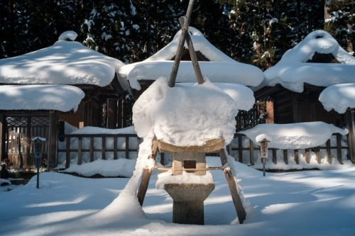 Uesugi Samurai Mausoleum in Winter Snow in Yonezawa Castle Ruins