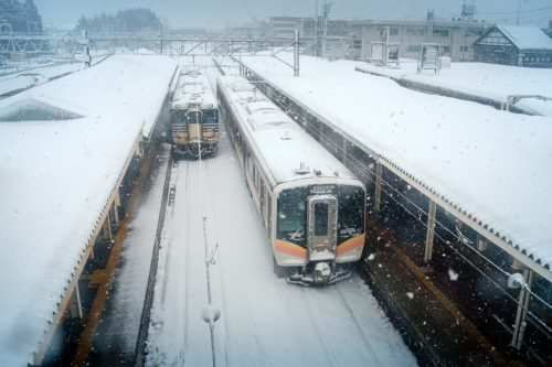 Winter Snow Storm at Train Station in Yonezawa City