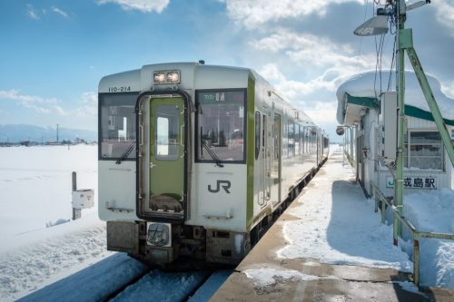 Yonezawa City Local Train in Rural Snow Town