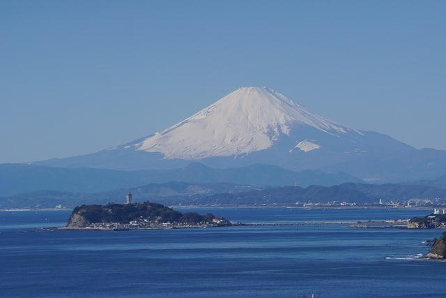 The Mount Fuji and Enoshima view from Imamuragasaki Park.
