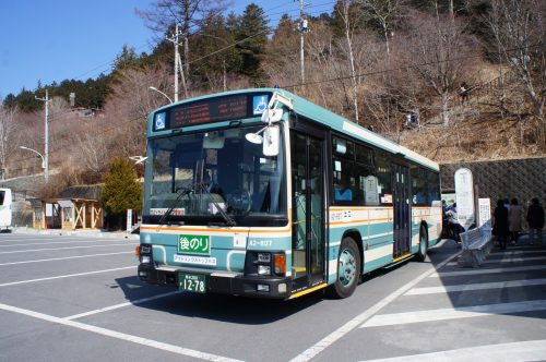 Seibu bus to Mitsumine Shrine in Chichibu.