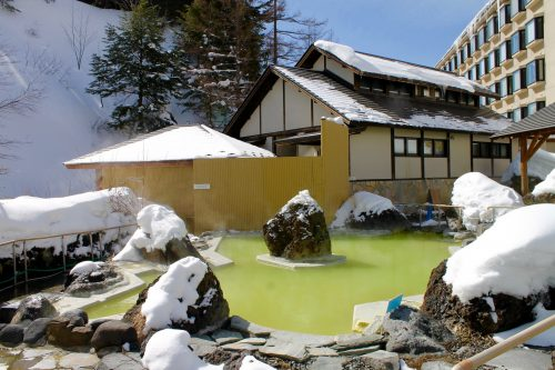 The open air bath at Manza Kogen Hotel