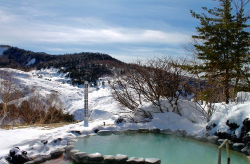 Manza Prince Hotel features multiple rotemburo (outdoor onsen baths), for both men and women, that look out on a stunning mountainside vista.