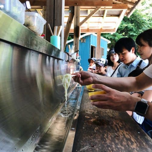 The open-air restaurant to try Japanese traditional summer cuisine: Nagashi Somen.