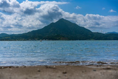 A view of Mt. Aoba from Wakamiya Beach