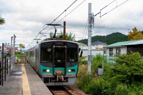 Obama Line train heading to the beach close to Kyoto.