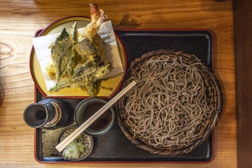 Soba noodle dish tasted before starting Nakasendō hike, Gifu prefecture, Japan