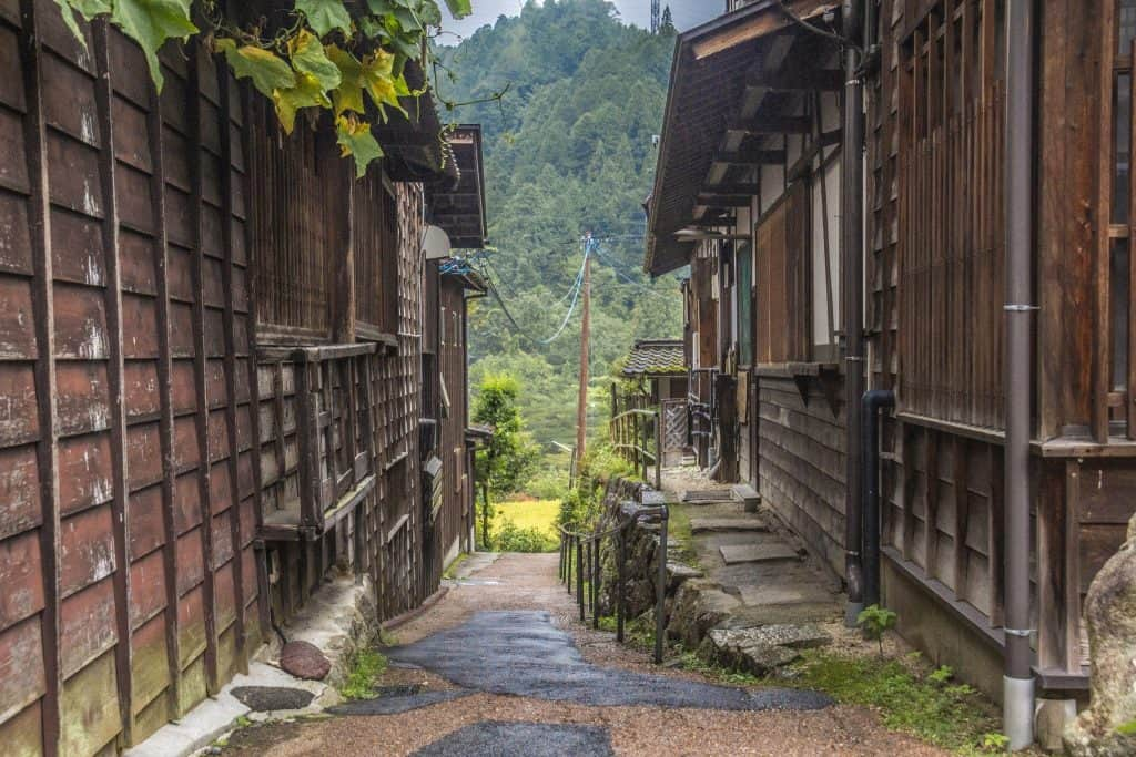 The village of Tsumago near Nakatsugawa, Gifu Prefecture, Japan