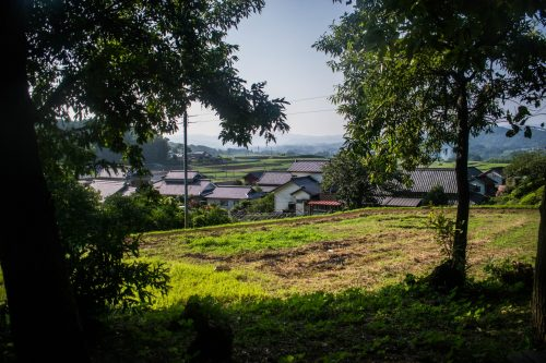 View of the Japanese countryside on a farm near Usuki town, Oita Prefecture, Japan
