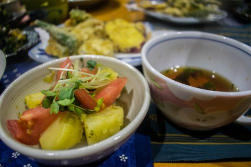 Meals with local products at a farm near Usuki City, Oita Prefecture, Japan