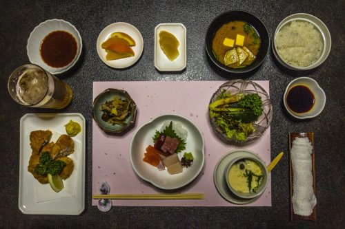 Japanese-style dinner at Iwasu-so hostel in Nakatsugawa, Gifu prefecture, Japan