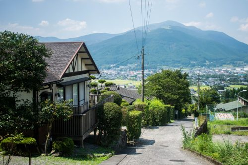 The small streets of Yufuin City, Oita Prefecture, Japan