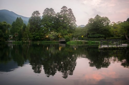Kirin Lake steps away from Yunotake-an Restaurant in Yufuin, Oita Prefecture, Japan
