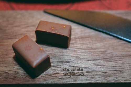 Tasting at Rozilla, the chocolate shop by Es Koyama, in Sanda, Hyogo Prefecture, Japan