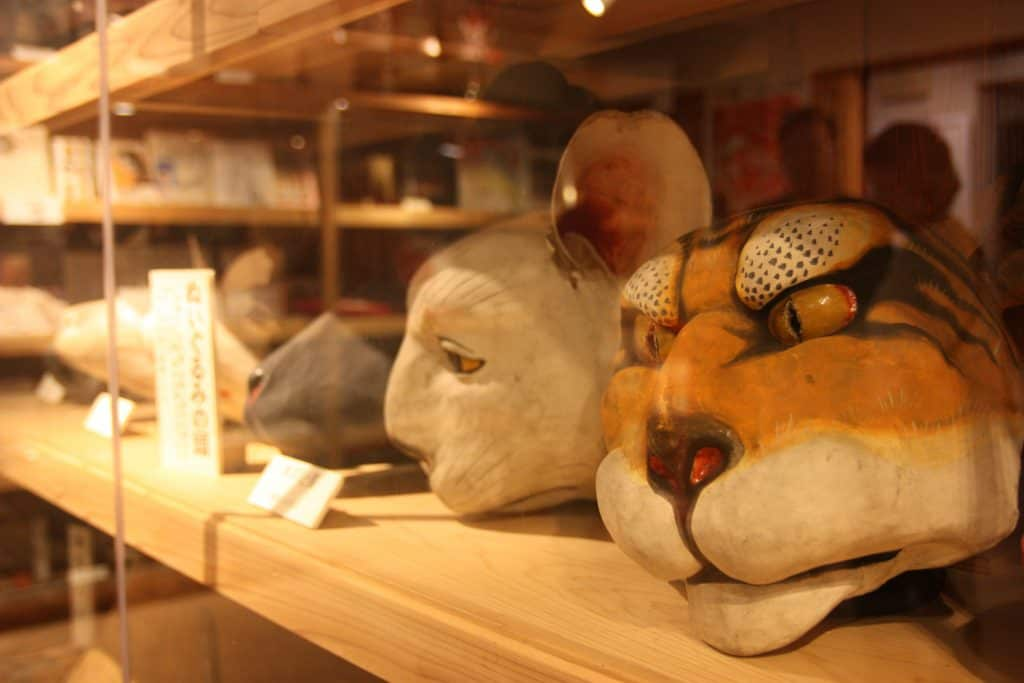 Japanese wooden masks for theatre arts