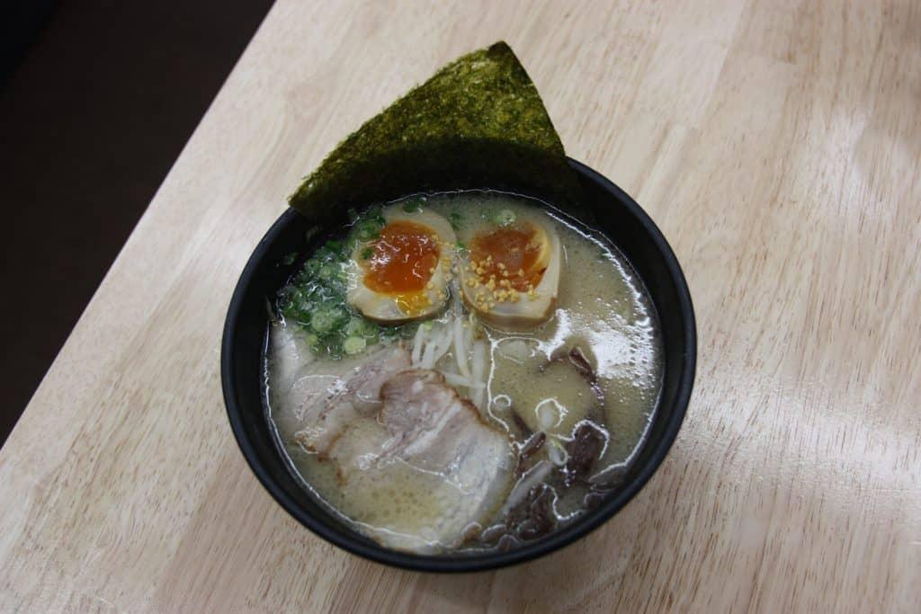 tonkotsu ramen and bamboo charcoal soft cream in Fukuoka Prefecture, Kyushu, Japan.