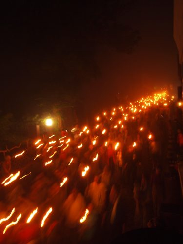 a sacred torch-lit parade begins every year at Mt Daisen, Tottori, Japan.