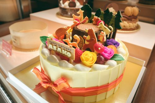 Birthday cake made in Es Koyama shop, Sanda, Hyogo Prefecture, Japan