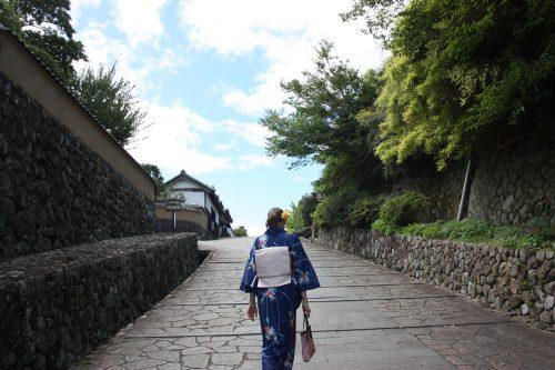 Wearing kimono for a walk in a samurai town, Kitsuki, Oita, Kyushu,Japan.