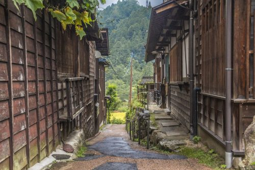 The village of Tsumago near Nakatsugawa, Gifu Prefecture, Japan