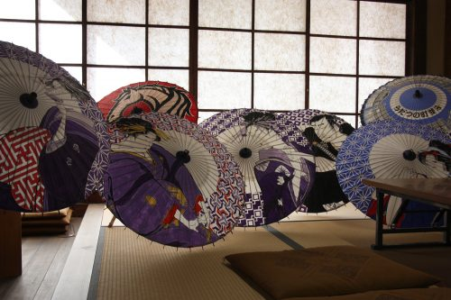 Fine Japanese umbrellas displayed in a workshop in Shikoku.