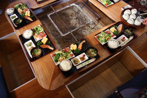 A hearty breakfast at Yuzu no Sato minshuku in Mima town.