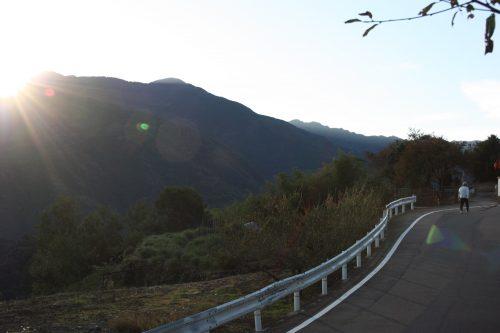 Sunrise over the mountains of Mima in Tokushima.