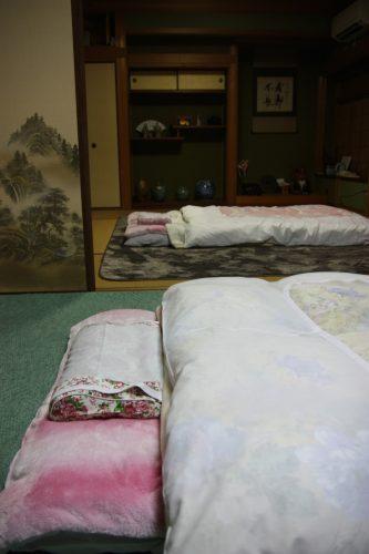 Comfortable futon at Yuzu no Sato.
