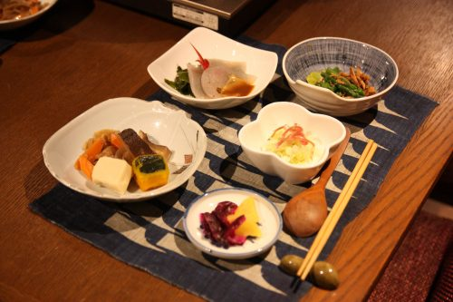 Local specialties prepared by your personal chef at Ochiai hamlet in Tokushima.