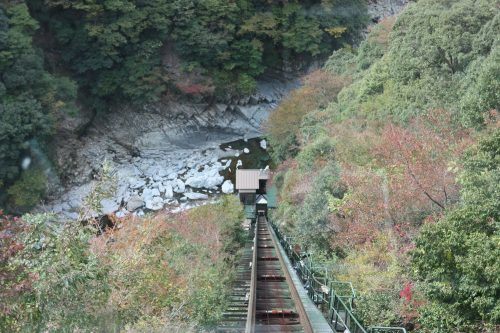 Taking a cable car ride to the onsen at Iya Onsen Hotel, Tokushima Prefecture.
