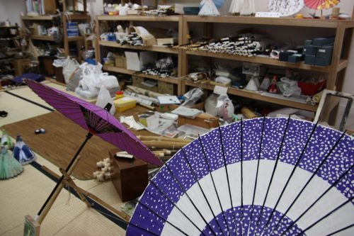 Japanese umbrella maker's workshop, Udatsu, Tokushima.