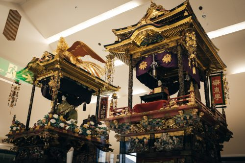 Portable shrines used in a festival of Yatsuo village, Toyama.