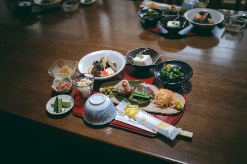 Buddhist vegan meal at Nisseki Temple, Toyama.