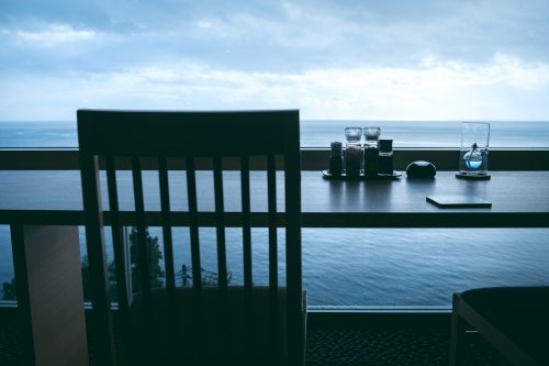 A view of peaceful Toyama Bay from Himi Umiakari Onsen.
