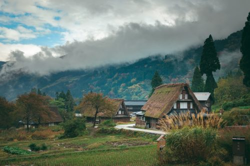 Autumn season at UNESCO World Heritage site Gokayama village, Toyama Prefecture, Japan