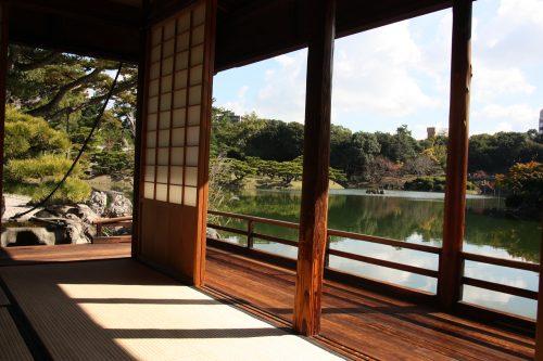 Kikugetsu-tei tea house in Ritsurin Garden in Takamatsu, Kagawa Prefecture in Eastern Shikoku.
