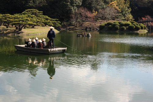 A boat ride on the pond at Ritsurin Garden in Takamatsu, Kagawa Prefecture in Eastern Shikoku.