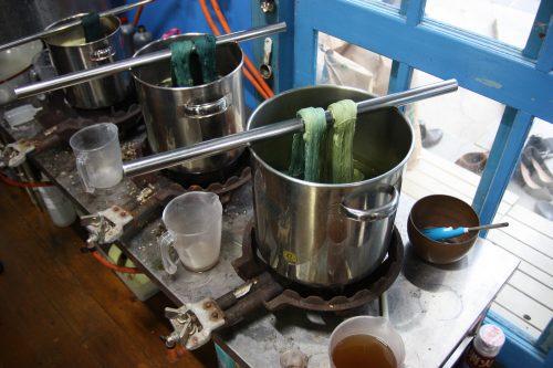 Dyeing the cotton thread used for temari in Takamatsu, Kagawa Prefecture.