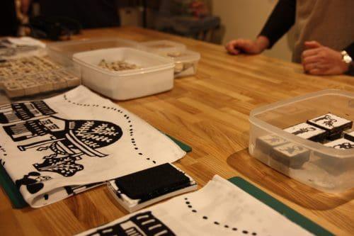 Making your own tenugui at one of Kurashiki's craft shops.