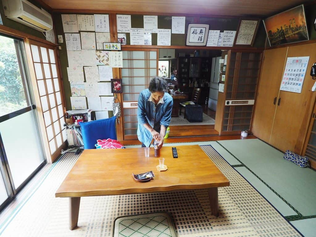 inside traditional Japanese home and farmstay in japan