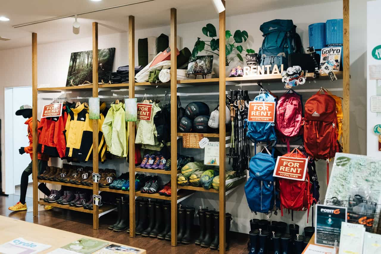 outdoor gear can be rented from the shop at Iiyama station