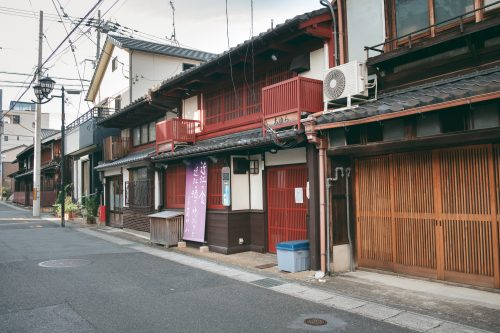 Traditional houses of Otsu city, Shiga prefecture, near Kyoto, Japan