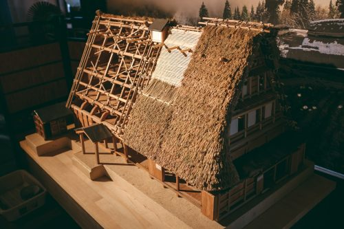 Model of straw roof at UNESCO World Heritage site Gokayama village, Toyama Prefecture, Japan