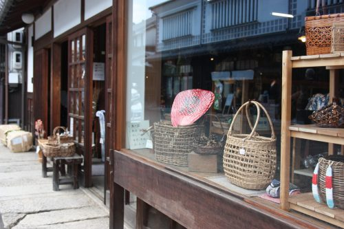 Small handicraft shops of the Bikan historic distict of Kurashiki, Okayama.