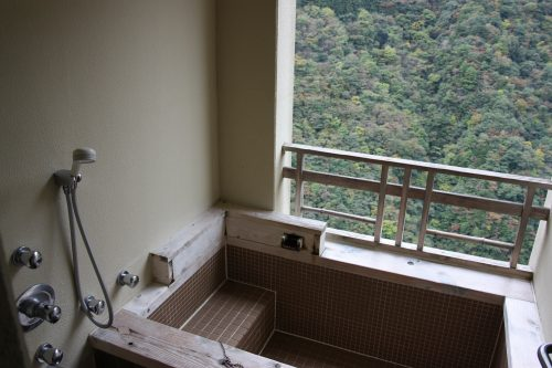 Outdoor bath at a suite at Iya Onsen Hotel, Tokushima Prefecture.