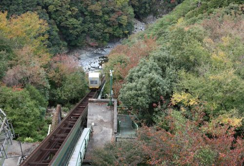Cable car from hotel to onsen at Iya Onsen Hotel, Tokushima.