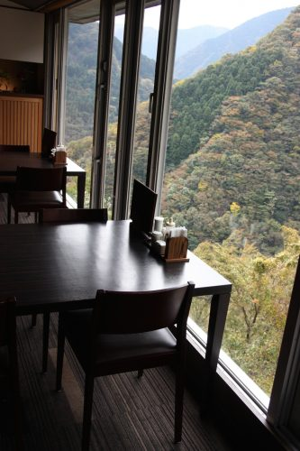 Meal time with a spectacular view at Iya Onsen Hotel, Tokushima Prefecture.