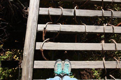 Crossing the vine suspension bridges of the Iya Valley.