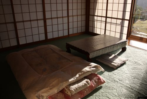 Traditional sleeping arrangements at Yuzu No Sato minshuku in Mima town, Tokushima, Shikoku.